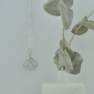 Customise Birthstone sterling silver necklace with Lotus petal charm.