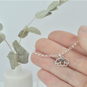 Grey Diamond April Birthstone sterling silver tiny charm necklace with Lotus petal.
