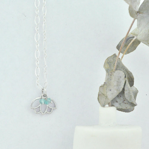 Aquamarine March Birthstone sterling silver tiny charm necklace with Lotus petal.