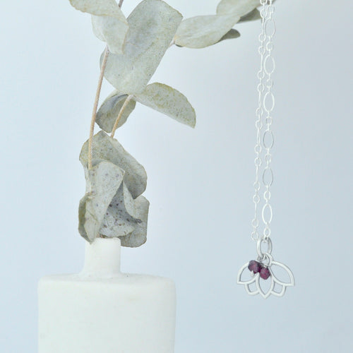 Garnet January Birthstone sterling silver minimal necklace with Lotus petal charm.