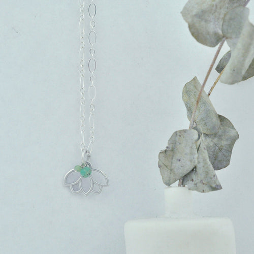 Emerald May Birthstone sterling silver tiny charm necklace with Lotus petal.