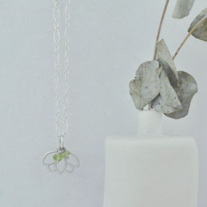 Peridot August Birthstone sterling silver minimal layering necklace with Lotus petal