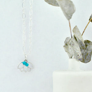 Turquoise December Birthstone sterling silver minimal layering necklace with Lotus petal