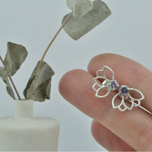Purple Sapphire silver studs, Natural Sapphire sterling silver Lotus everyday earrings