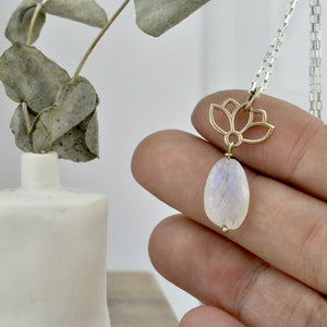 9ct Yellow Gold Lotus Moonstone necklace, June birthstone.