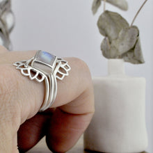 Square Moonstone Silver Lotus fitted Ring Set.