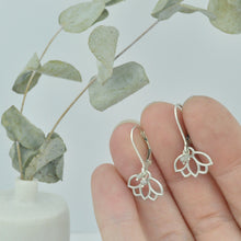 Grey diamond small hoops silver lotus earring.