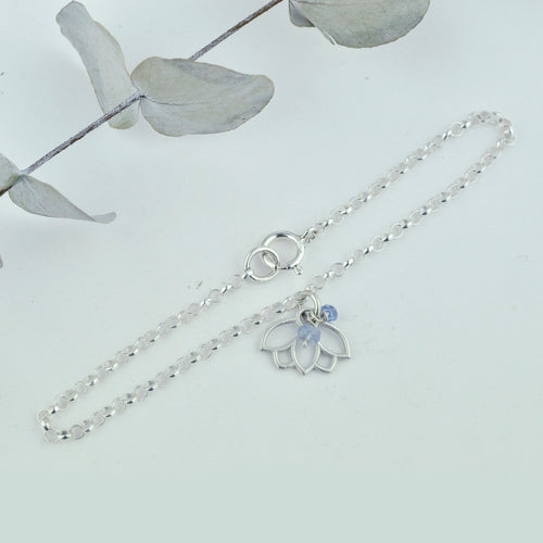 Tanzanite December birthstone minimal Sterling Silver bracelet