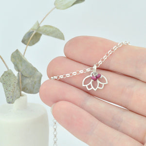 Customise Birthstone sterling silver bracelet with Lotus petal charm.