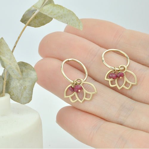 Ruby 9ct gold small sleeper hoop, Lotus earring, July birthstone.