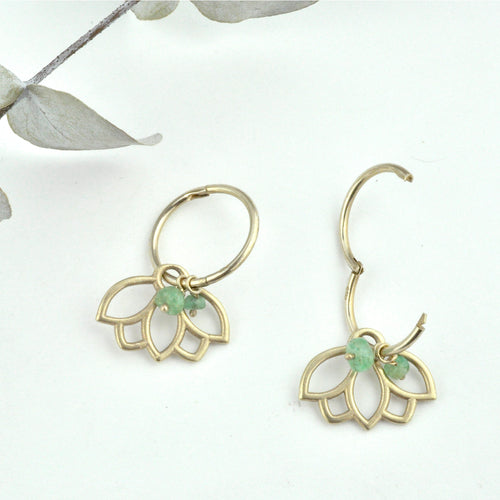 9ct gold small sleeper hinged hoops, Natural Emerald beads Lotus earring, May birthstone.