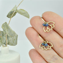 Blue Sapphire 9ct gold small everyday hoops, Natural Sapphire beads Lotus earring, September birthstone.