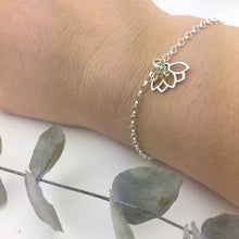 November Birthstone sterling silver bracelet with Citrine beads and Lotus petal charm.