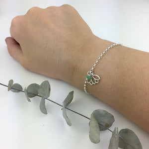 May birthstone bracelet Emerald beads Sterling Silver with Lotus petal charm