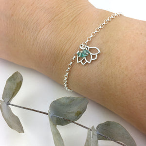 Aquamarine March Lotus Charm Silver Bracelet