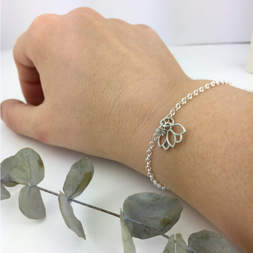 Grey Diamond April Birthstone Lotus Charm Silver Bracelet