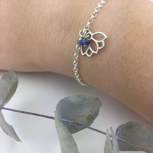 Natural Sapphire September Birthstone sterling silver bracelet with Lotus petal charm.