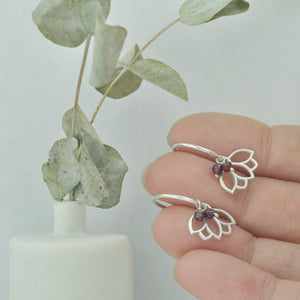Garnet small hoops silver lotus earring, January birthstone.