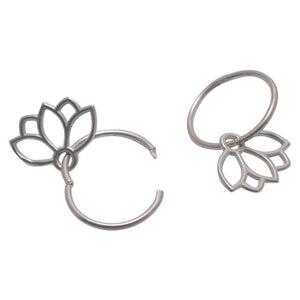 Sapphire September birthstone solid silver sleeper hoops, lotus charm.