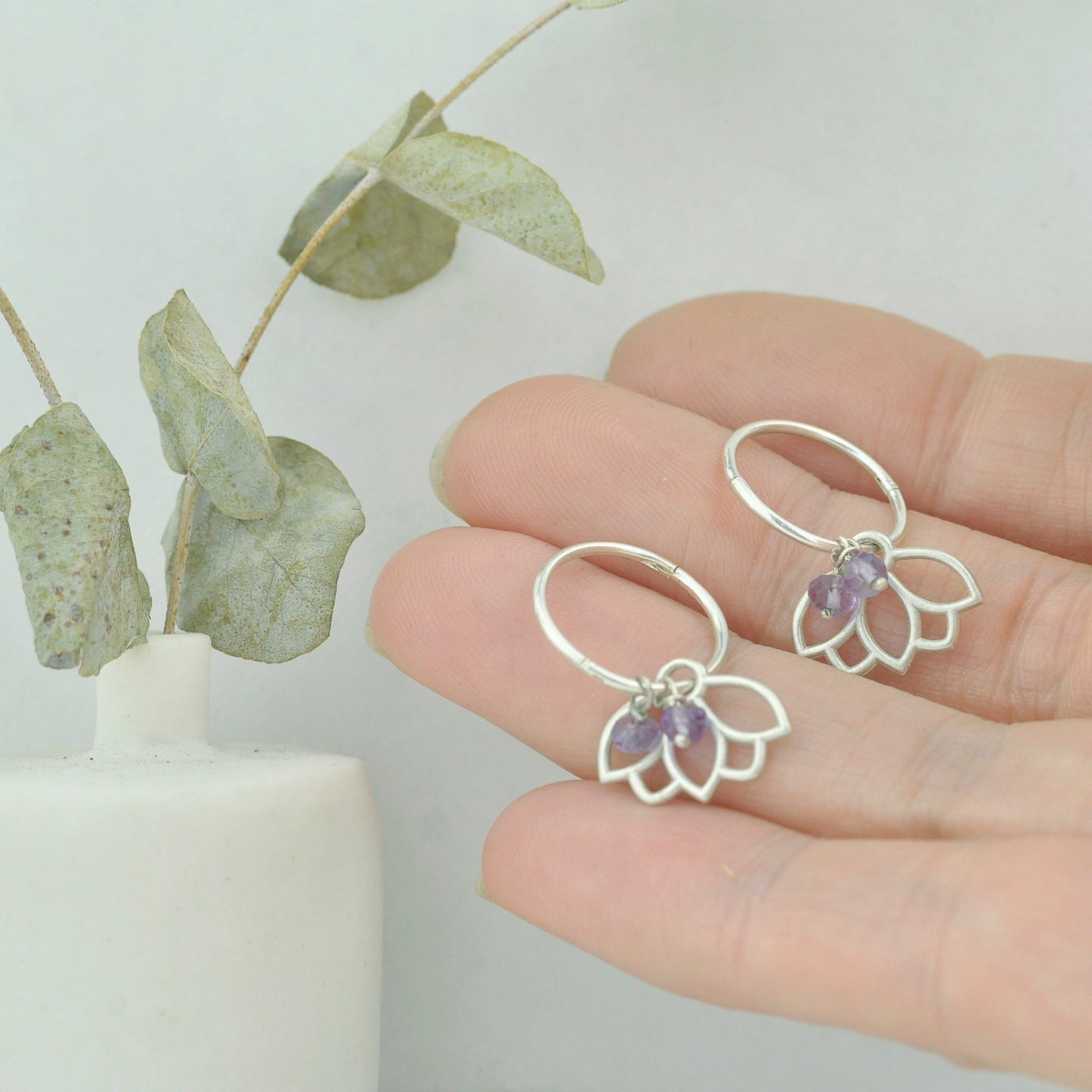 Amethyst small hoops silver lotus earring, February birthstone.