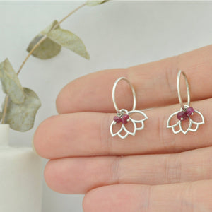 Ruby dainty sleeper hoops silver lotus earring, July birthstone.
