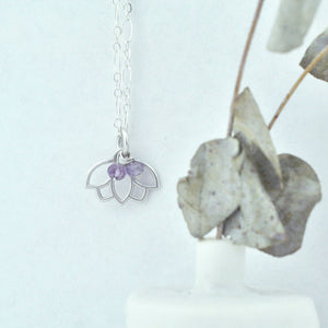 Amethyst February Birthstone Silver Lotus Necklace