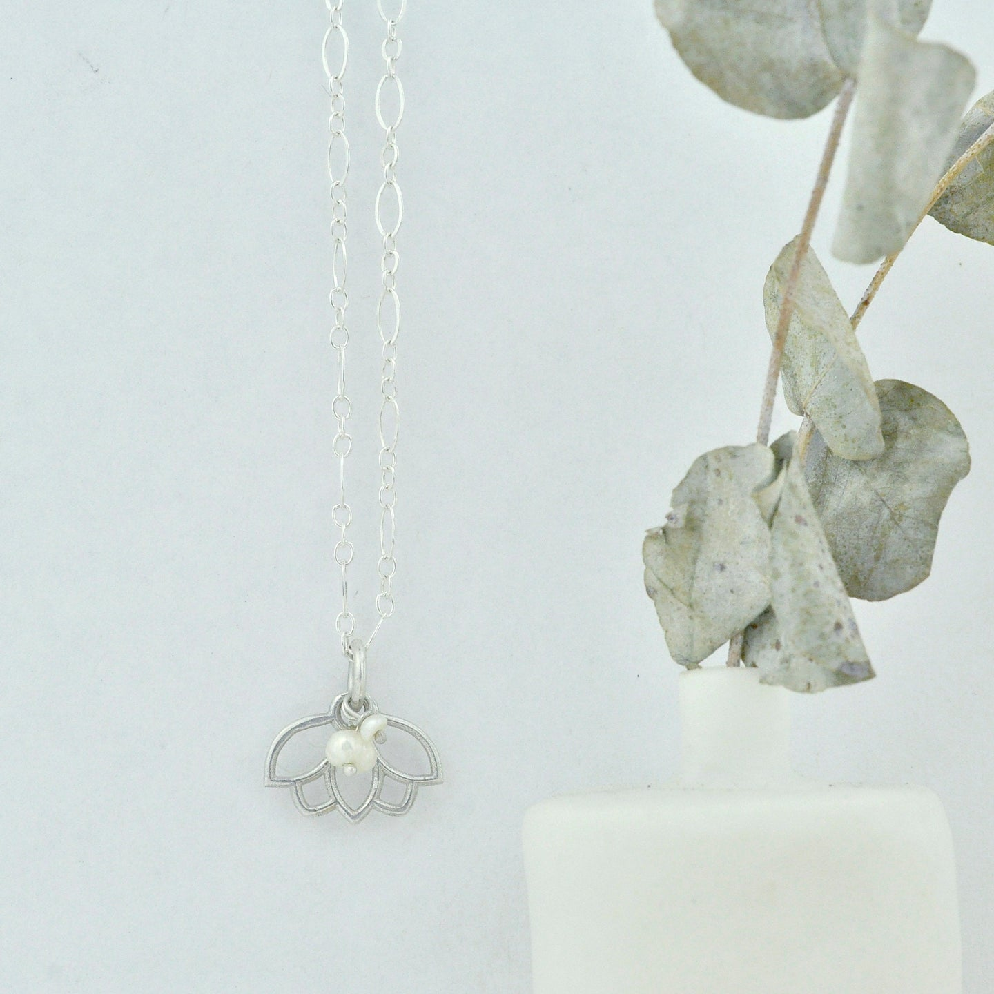 Pearl delicate sterling silver tiny charm necklace with Lotus petal, June birthstone.