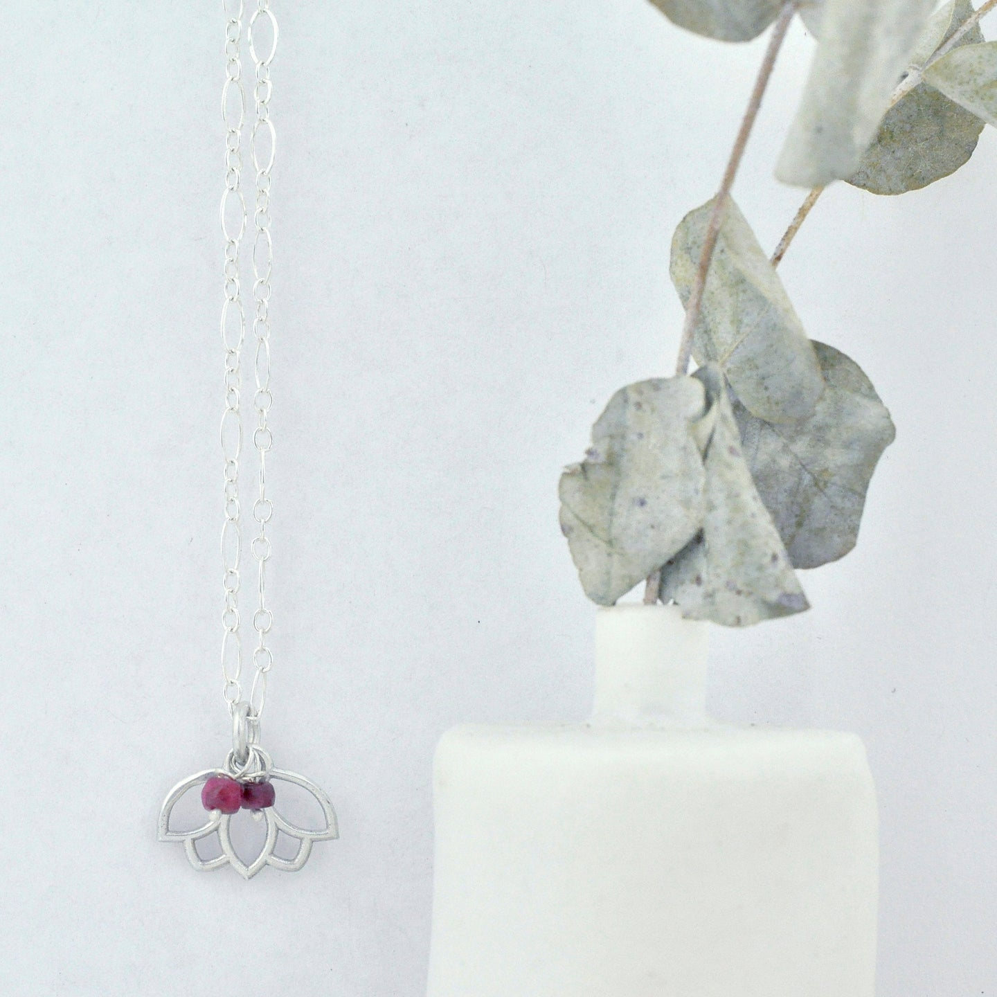 Natural Ruby sterling silver minimal layering necklace with Lotus petal, July Birthstone
