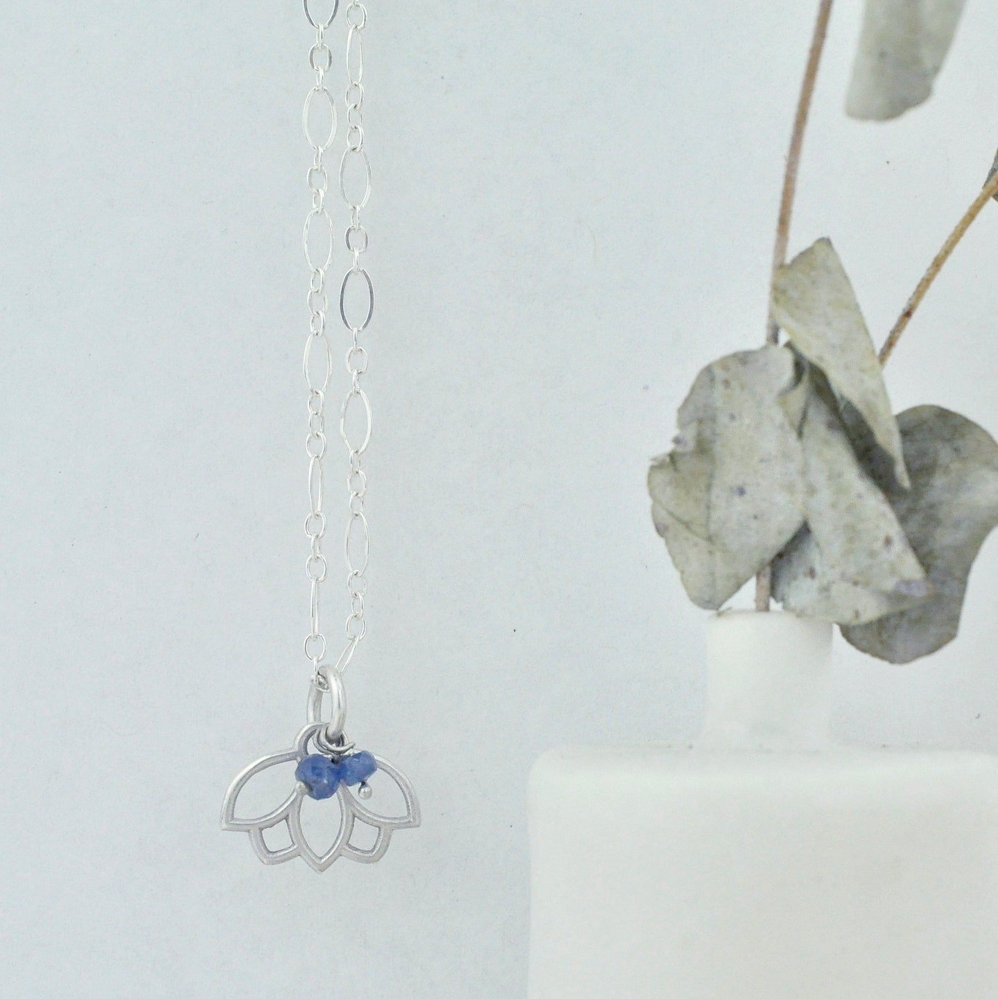 Natural Sapphire sterling silver minimal layering necklace with Lotus petal, September Birthstone