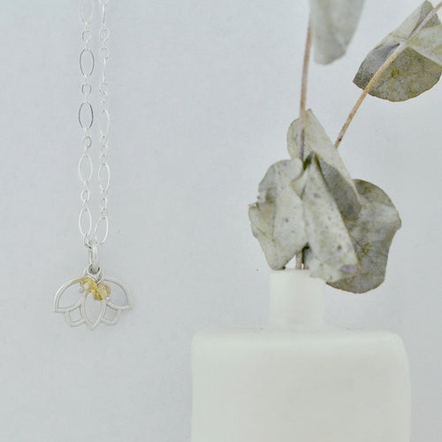 Citrine November Birthstone sterling silver minimal layering necklace with Lotus petal