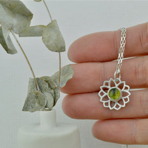 Natural Ruby 9ct Yellow gold necklace, flower, July birthstone.