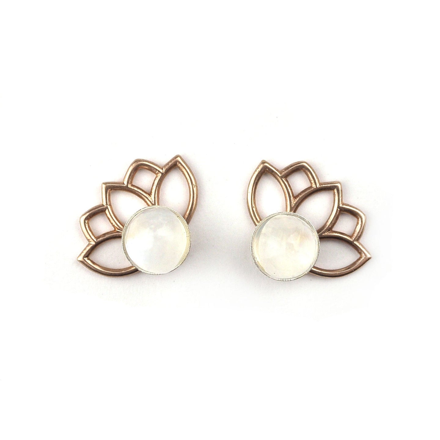 14ct rose gold Moonstone June birthstone Flower Studs.