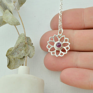 Ruby July birthstone sterling silver necklace, Lotus flower.