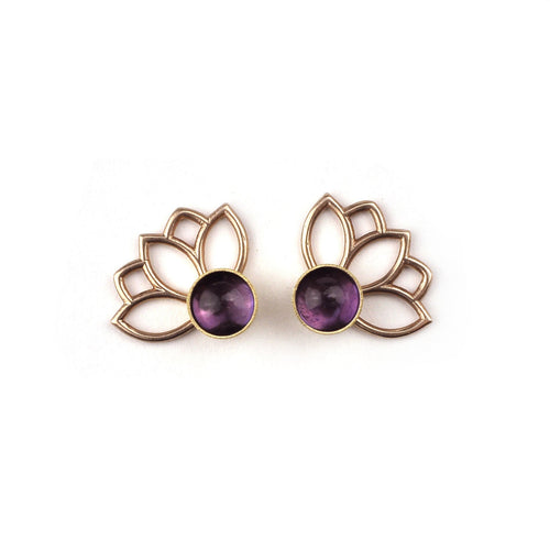 9ct rose gold Amethyst February birthstone earring.