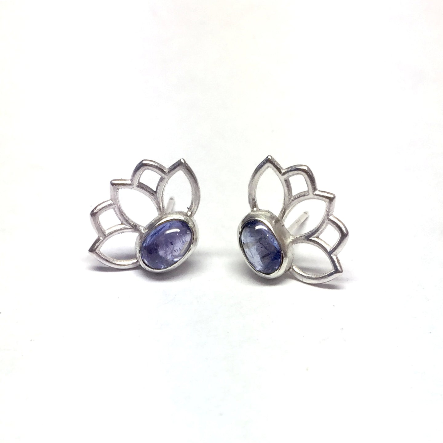 Tanzanite December birthstone, sterling silver studs.