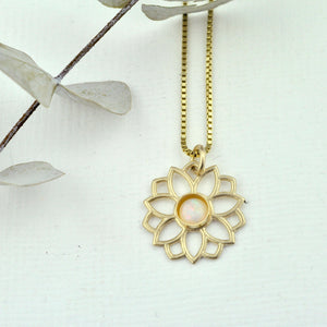 Australian Opal 9ct Yellow gold necklace, Lotus flower, October birthstone.
