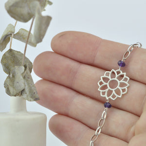 Amethyst February birthstone Sterling Silver bracelet, Lotus flower.
