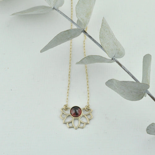 9ct Gold January Birthstone Necklace Garnet, Lotus flower