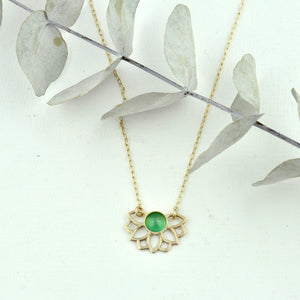 Solid 9k Gold Cabochon Emerald Necklace, Lotus flower, on a gold fill chain