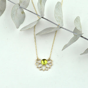 Solid 9k Gold Peridot Necklace, August birthstone, Lotus flower, on a gold fill chain