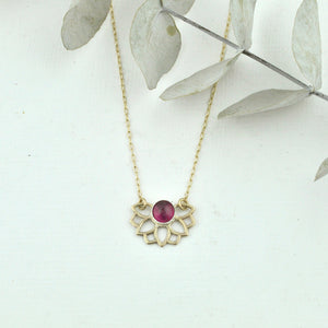 October birthstone 9ct yellow gold pendant, Lotus flower, Opal or Tourmaline on a gold fill chain