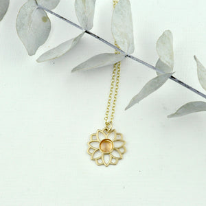 Tourmaline 9kt Yellow gold necklace, Lotus flower, October birthstone.