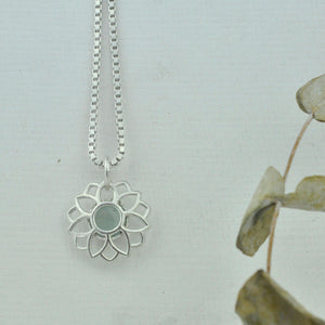 Aquamarine March birthstone sterling silver necklace, Lotus flower.
