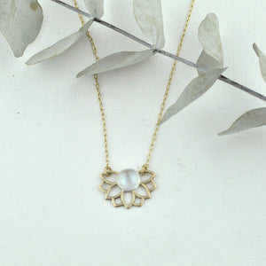 Solid 9k Gold June Birthstone Necklace, Moonstone or Pearl, Lotus flower, on a gold fill chain