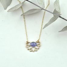 December birthstone 9kt yellow gold pendant, Lotus flower, Turquoise, Zircon or Tanzanite on a gold fill chain