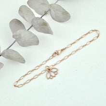 9ct Rose Gold Lotus charm (on rose gold plated) bracelet, Optional Birthstone.