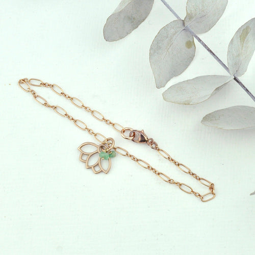 Emerald bracelet, 9ct Rose gold Lotus charm (bracelet rose gold plated), May Birthstone.