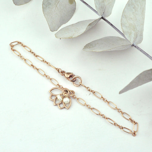 Pearl bracelet, 9ct Rose gold Lotus charm (bracelet rose gold plated), June Birthstone.