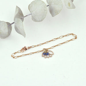 Sapphire bracelet, 9ct Rose gold Lotus charm (bracelet rose gold plated), September Birthstone.
