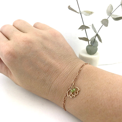 Peridot bracelet, 9ct Rose gold Lotus charm (bracelet rose gold plated), August Birthstone.